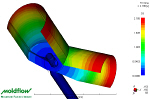 Moldflow for Automotive molding - This result shows the filling pattern through a typical Asthma inhaler.